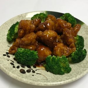 General Tso Chicken (Spicy) Fried boneless chicken with brown sweet, savory and spicy General Tso's sauce.